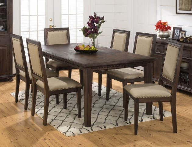 Geneva Hills Rustic Brown Extendable Rectangular Dining Room Set