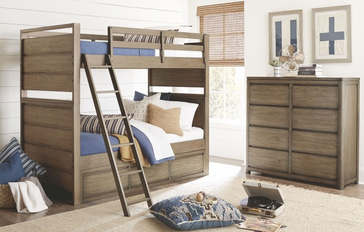 Big Sky by Wendy Bellissimo Weathered Oak Bunk Bedroom Set