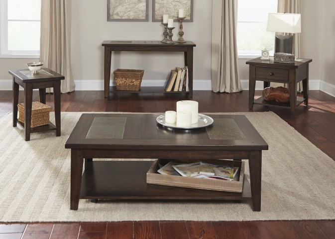 Hearthstone Dark Rustic Oak Occasional Table Set