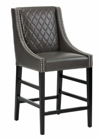 Malabar Grey Leather Counter Stool