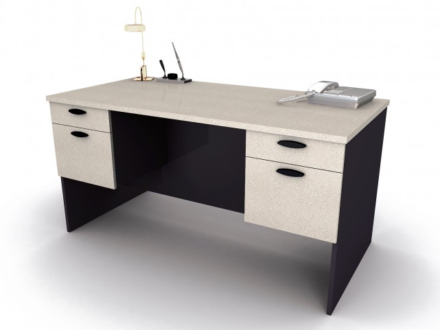 Hampton Executive Desk In Sand Granite & Charcoal