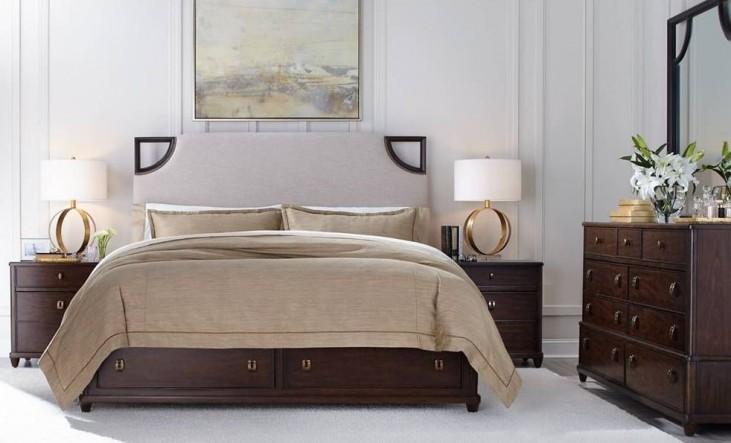 Virage Truffle Upholstered Storage Bedroom Set