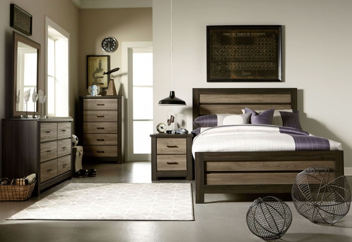 Oakland Smoky Brown And Grayed Birch Youth Panel Bedroom Set