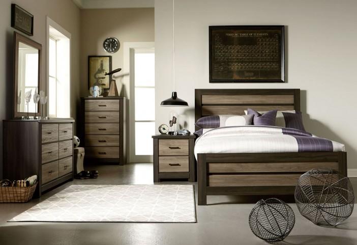 Fremont Dark And Smoky Weathered Oak Panel Bedroom Set