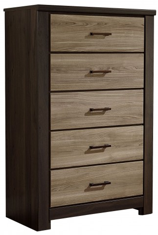 Oakland Smoky Brown And Grayed Birch 5 Drawer Chest