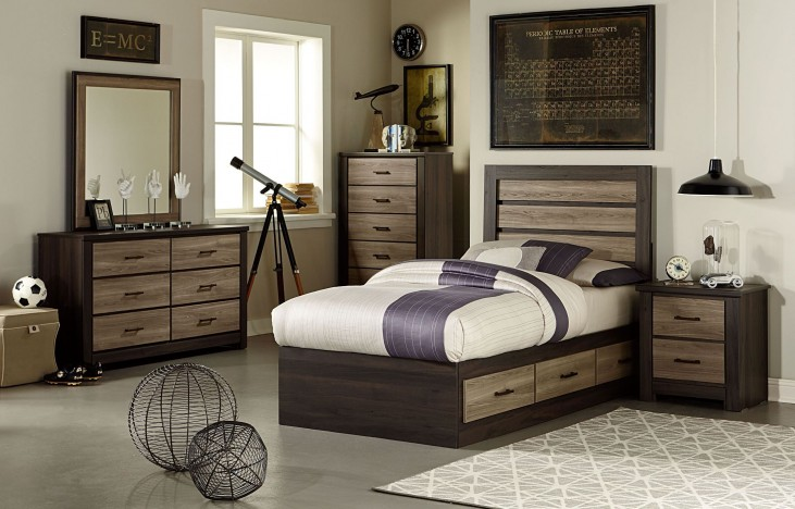 Oakland Smoky Brown And Grayed Birch Youth Captains Storage Bedroom Set