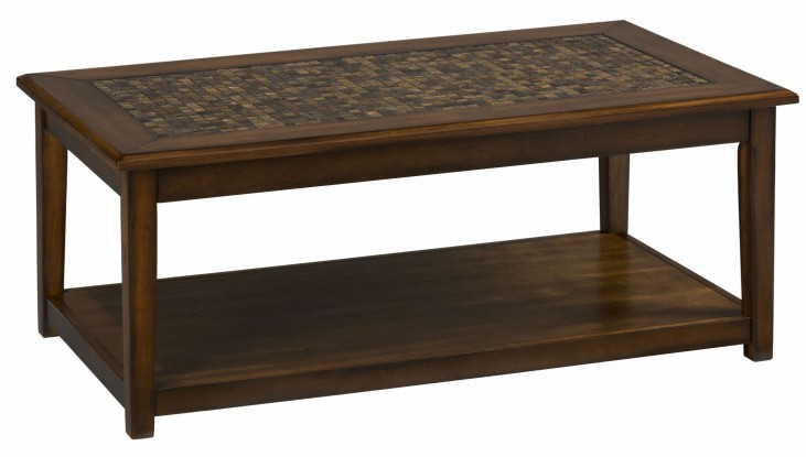 Baroque Brown Mosaic Tile Inlay Cocktail Table
