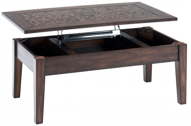 Baroque Brown Mosaic Tile Inlay Lift Top Cocktail Table