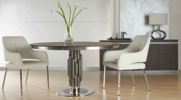 Xena Aria Matte Light Grey Round Pedestal Dining Room Set
