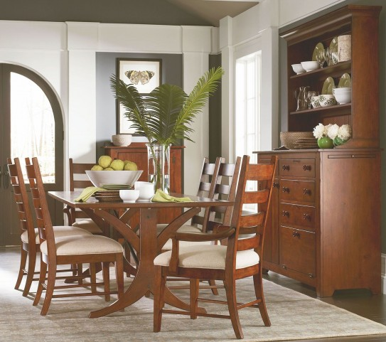"Homecoming Vintage Cherry New River 94"" Dining Room Set"