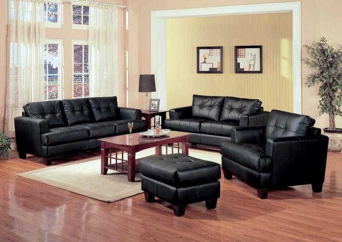Samuel Black Leather Living Room Set - 501681