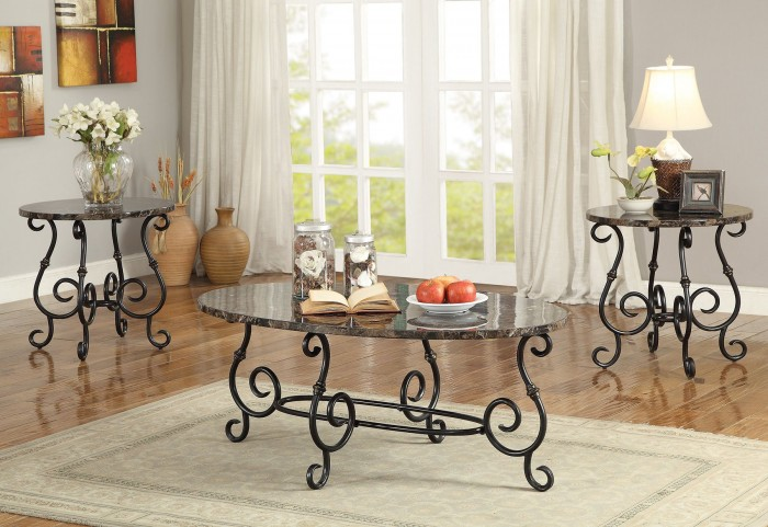 3 Piece Black Occasional Table Set