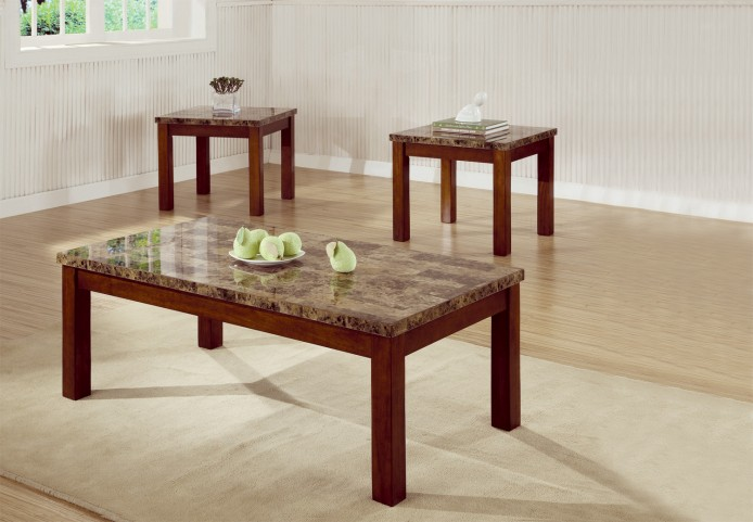 3 Piece Occasional Table Set With Marble Look Top - 700305