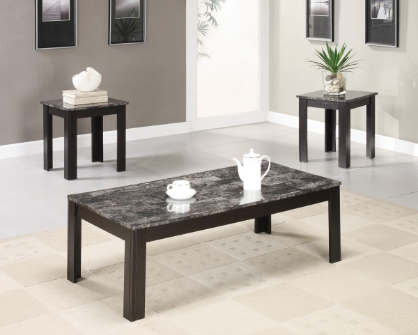 3 Piece Occasional Table Set With Marble Look Top - 700375