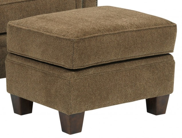 Travis Walnut Chenille Fabric Ottoman