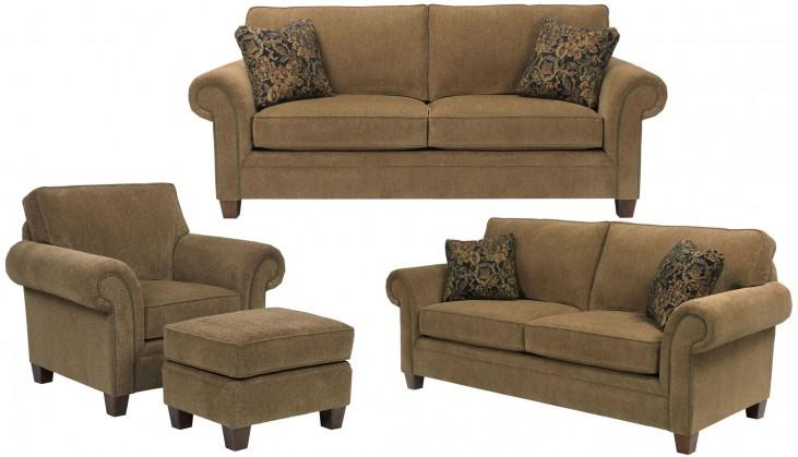 Travis Walnut Chenille Fabric Living Room Set