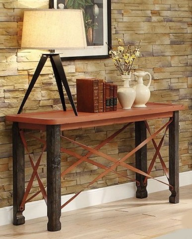 Rustic Orange Sofa Table