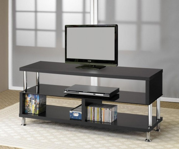Black And Chrome TV Stand 700652
