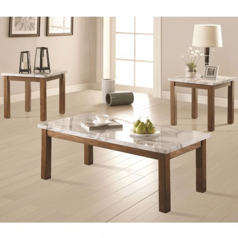 701001 Faux Marble Top 3Piece Occasional Set
