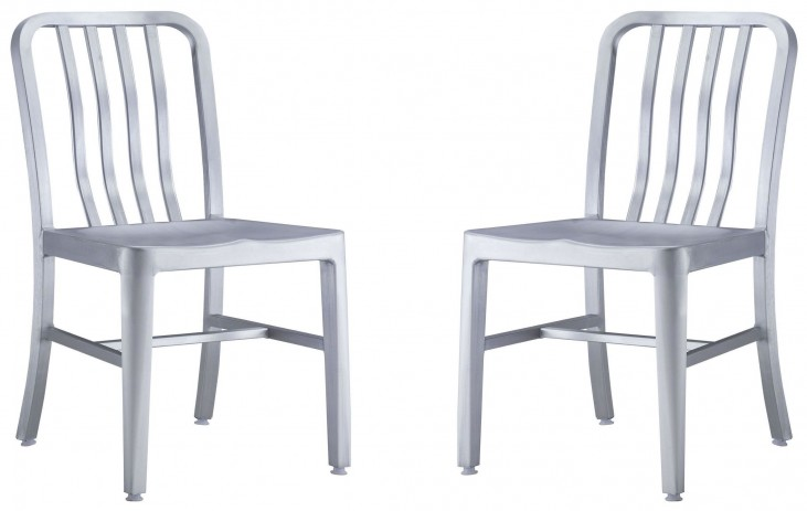 Gastro Brushed Aluminum Dining Chair Set of 2