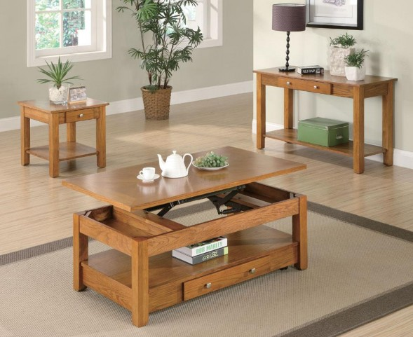 Oak Occasional Table Set 7014
