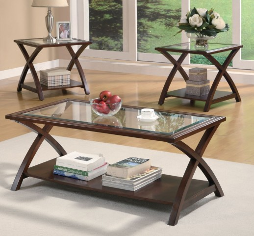 3 Piece Occasional Table Set With Glass Insets - 701527