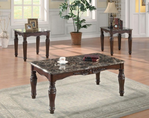 3pc Brown Cherry Occasional Table Set 701554