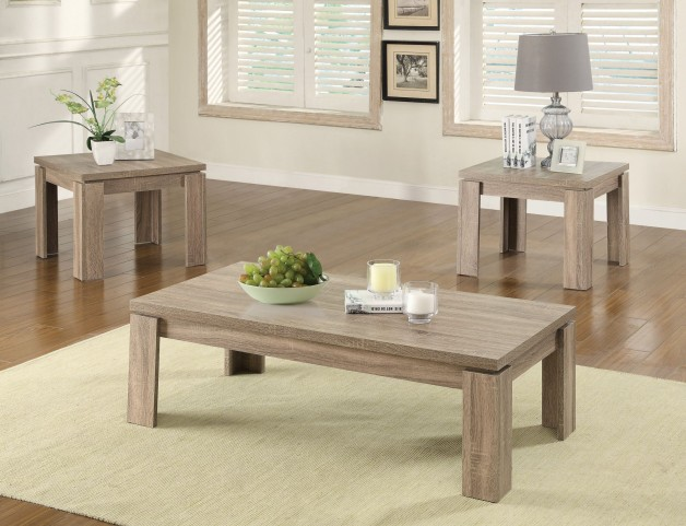 701646 3 Pieces Distressed Brown Occasional Table Set