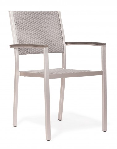 Metropolitan Brushed Aluminum Armchair Set of 2