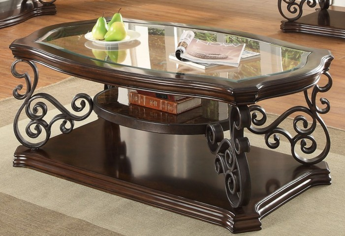 Mahogany Ornate Metal Coffee Table