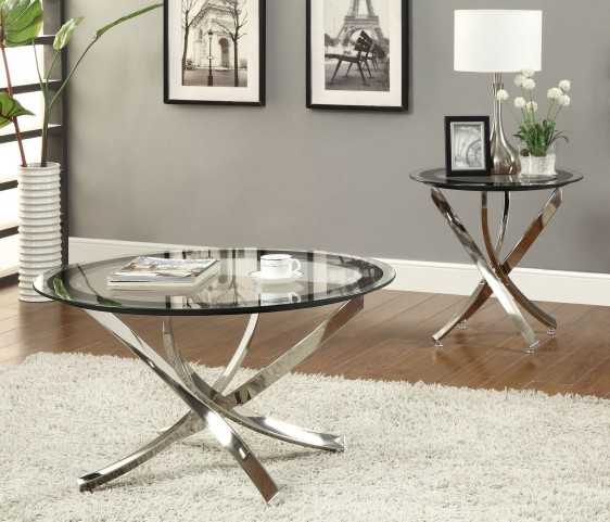 702588 Black/Chrome Occasional Table Set