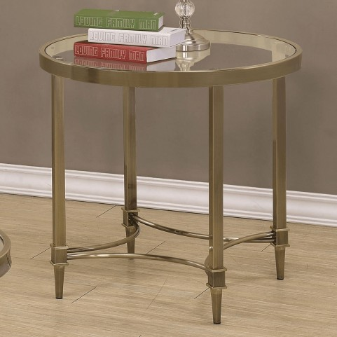 703507 Round Glass Top End Table
