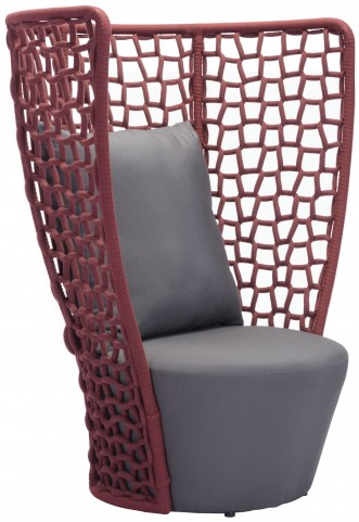 Faye Bay Beach Cranberry & Gray Chair