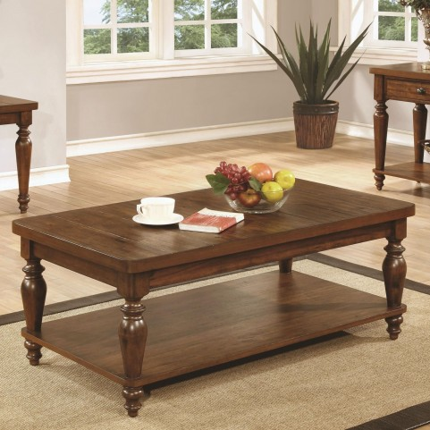 703578 Rustic Brown Rectangular Coffee Table