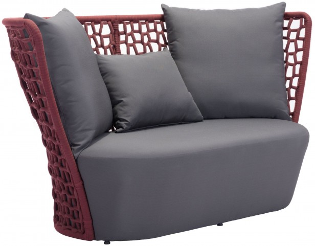 Faye Bay Beach Cranberry & Gray Sofa