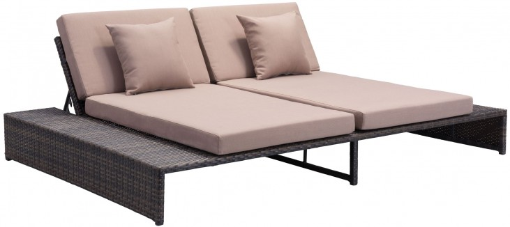 Delray Brown & Beige Reclining Loveseat