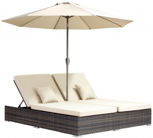 Atlantic Brown & Beige Double Chaise Lounge