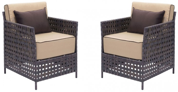 Pinery Brown & Beige Arm Chair Set of 2