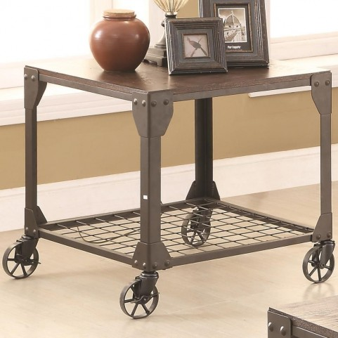 703907 Wood and Metal End Table