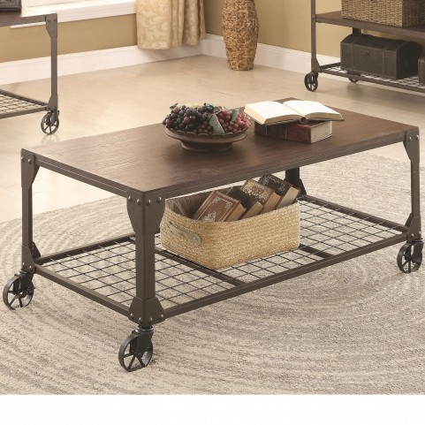 703908 Wood and Metal Coffee Table