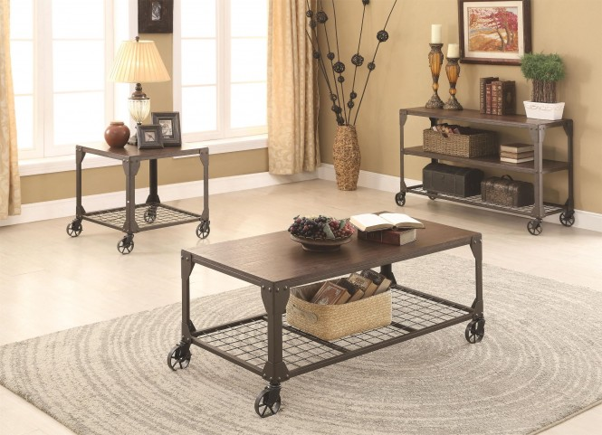 Wood and Metal Occasional Table Set