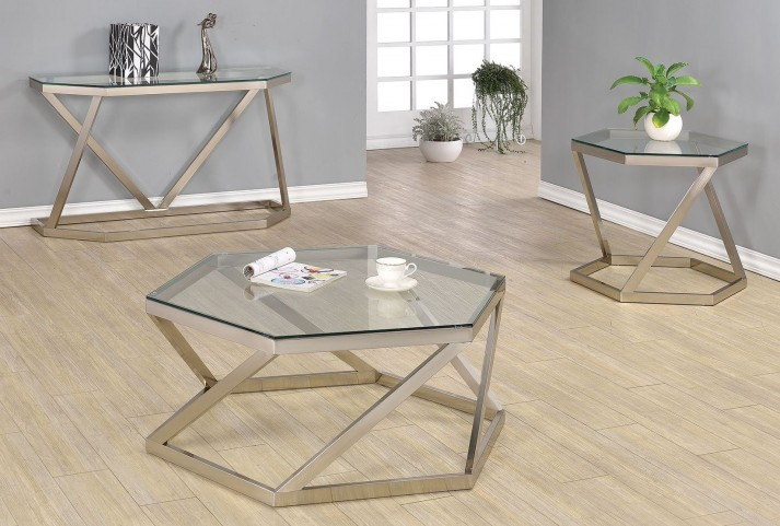 Nickel Glass Top Occasional Table Set