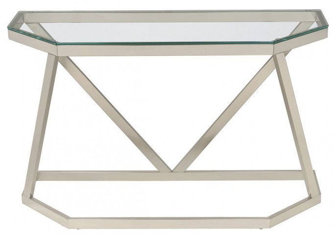 Nickel Glass Top Sofa Table
