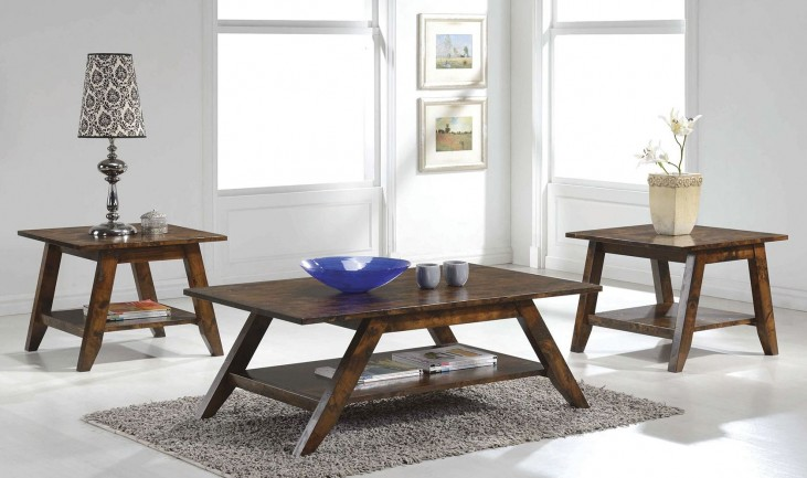 Rustic Pecan Occasional Table Set