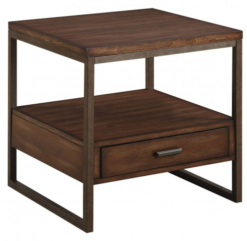 Ellery Rustic Brown Metal End Table