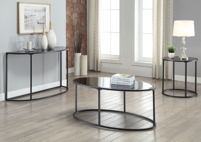 Black Glass Top Occasional Table Set