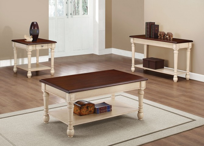 704418 Dark Brown/ White Occasional Table Set