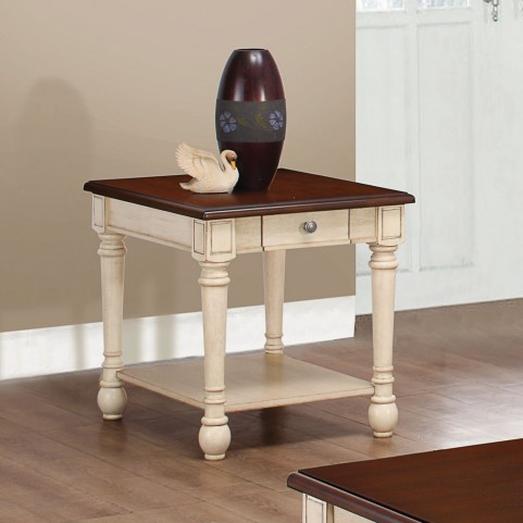 704417 Dark Brown and White End Table