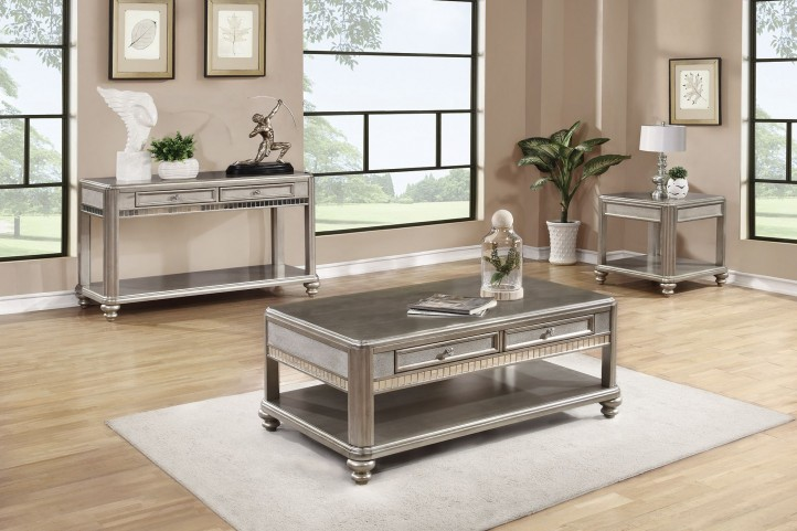 704618 Metallic Platinum Occasional Table Set