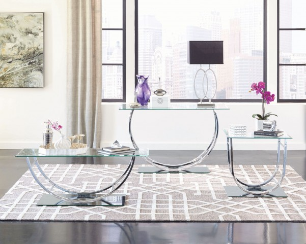 Chrome Glass Top Occasional Table Set